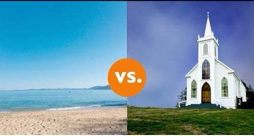 Beach Wedding VS. Traditional Church Wedding.